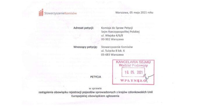 Petycja – Zamiana obowiązku Rejestracji na Zgłoszenie